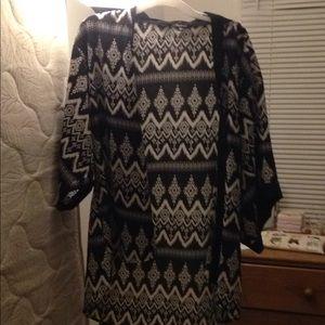 A black and white patterned kimono